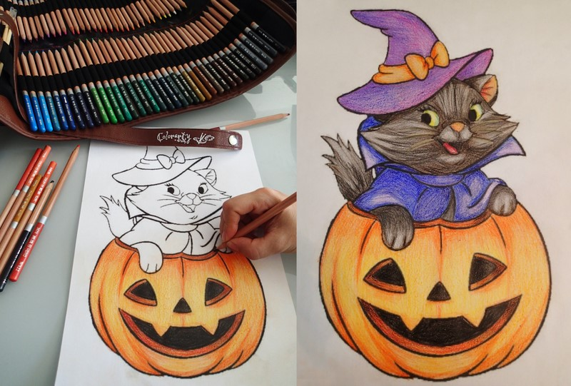 Halloween coloring fun (before activating watercolors)