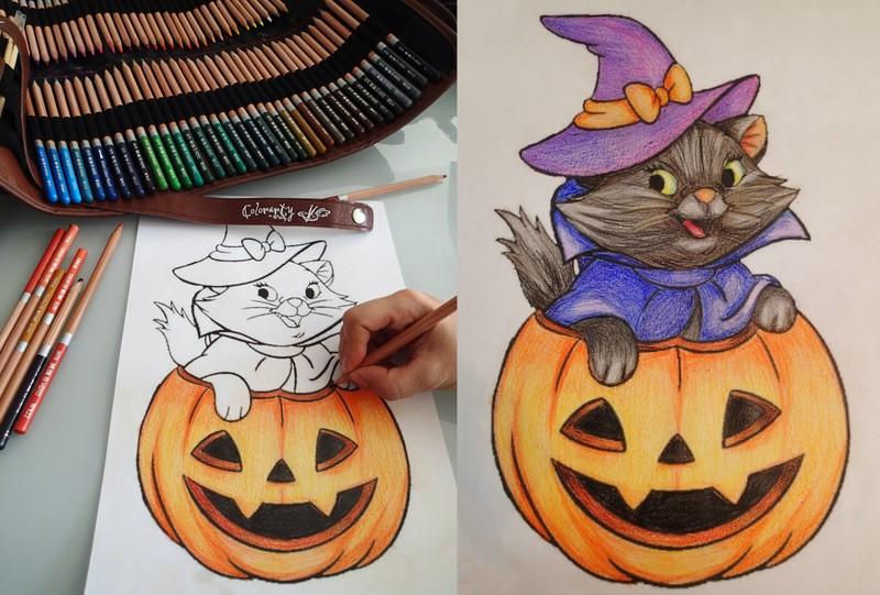 Halloween coloring fun (before activating watercolors)