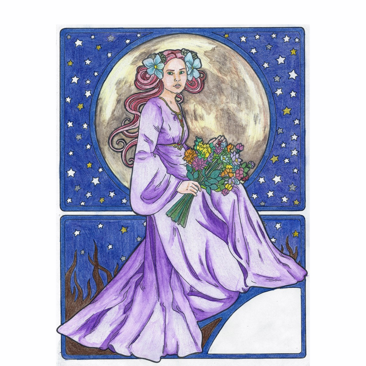 Moon Lady (dry coloring & watercoloring)